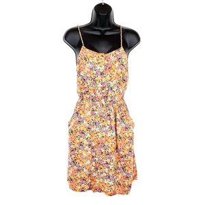 GARAGE Floral Mini Dress w/ Pockets Summer Orange